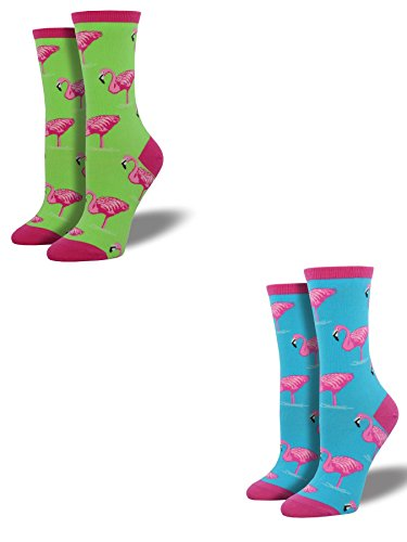 Bundle 2 Items: Flamingo Lime and Sky Blue One Size Fits Most Womens Socks