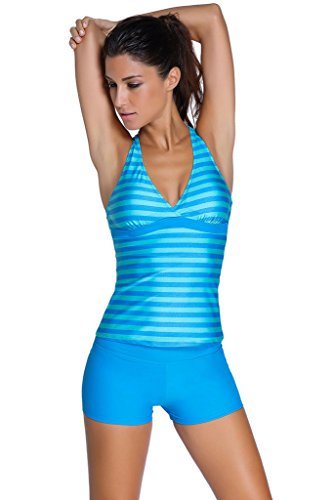 Aleumdr Women's Racerback Tankini Striped Top Boy Short Bottom Medium Rory