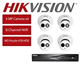 Hikvision DS-7608NI-E2/8P 8CH 8 POE NVR & 4pcs DS-2CD2343G0-I 4.0mm Lens 4MP POE Turret Camera Kit with 4TB HDD