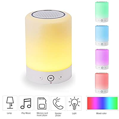 YONNEY Night Light with Bluetooth Speaker, Touch Control Color LED Bedside Table Lamp, Portable Wireless Bluetooth Speaker, Teens Kids Children Sleeping Aid