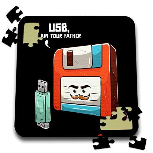 3dRose Sven Herkenrath Nerd - Retro Graphic with USB Stick and Floppy Disk Vintage Nerd - 10x10 Inch Puzzle (pzl_308581_2)
