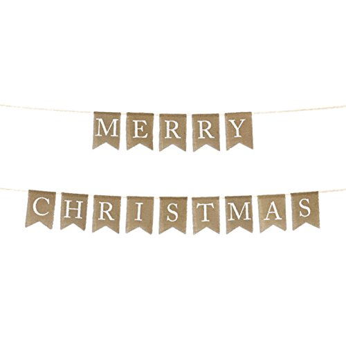 Merry Christmas Fabric (Andaz Press Real Burlap Fabric Pennant Hanging Banner Merry Christmas, Pre-Strung, No Assembly Required, 1-Set)