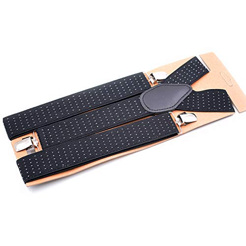 Daffnis Men's Y-Back Suspenders Metal Clips Adjustable Elastic Polkadot Trouser Braces 1.4'' Wide Black from Daffnis