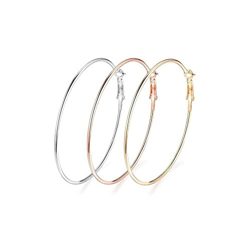 3 Pairs Hoop Earrings,18k Gold Plated Rose Gold Plated Silver Plated Stainless Steel Hoop Earrings For Women (60MM 3 Color)