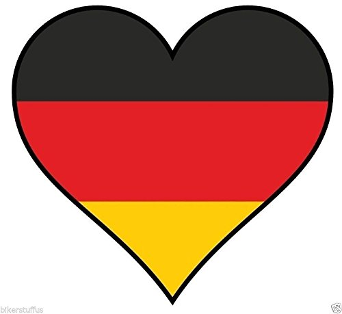 Germany Heart with German Flag Bumper Sticker Hard HAT Sticker Laptop Sticker (Flag German Heart)