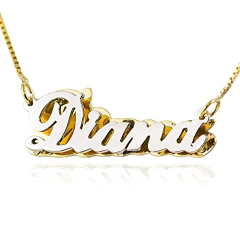 14K Two Tone Gold Double Plate Personalized Name Necklace (20 Inches, Box Chain) (Gold Plate Chain Necklace)
