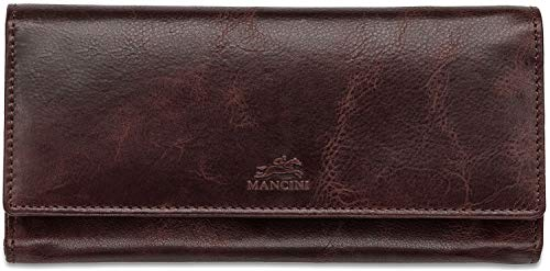 (Mancini Ladies' RFID Secure Leather Trifold Wallet in Burgundy)
