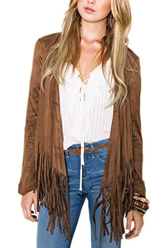 - Vosujotis Women Suede Jackets Leather Faux Fringed Drape Open Front Coats Coffee XL