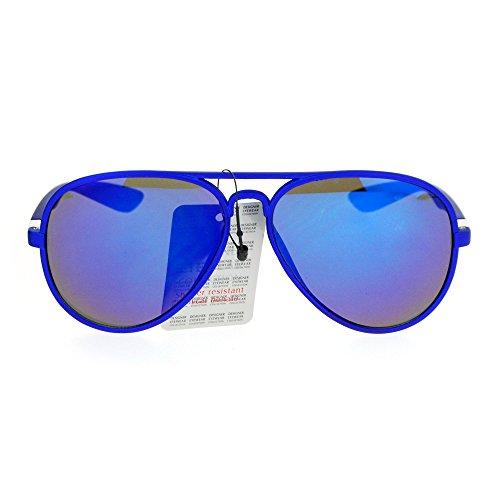 (SA106 Color Mirror Matte Plastic Thin Plastic Pilot Sunglasses Blue)
