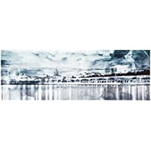 "Rivet Shades of Grey Watercolor Cityscape Canvas Print, 30"" x 10"""