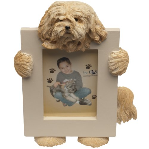 Lhasa Apso Picture Frame Holds Your Favorite 2.5 by 3.5 Inch Photo, Hand Painted Realistic Looking Lhasa Apso Stands 6 Inches Tall Holding Beautifully Crafted Frame, Unique and Special Lhasa Apso Gifts for Lhasa Apso Owners ()