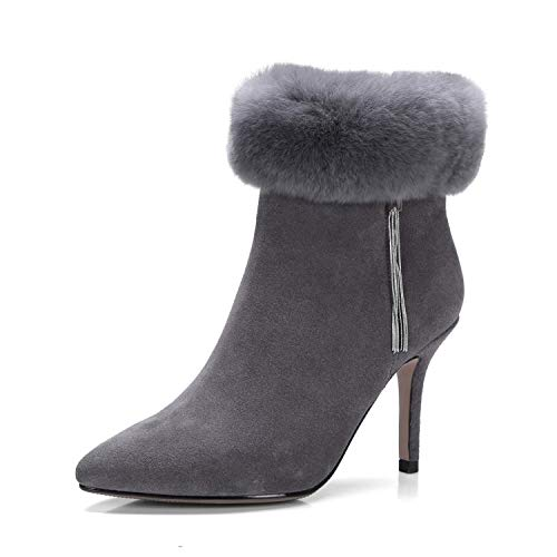 Stiletto Pointus à Courtes Bottines pour Talons Femme Grey 7IOwPqfPW