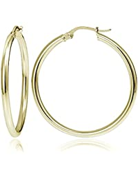 Sterling Silver 2mm High Polished Medium Round Hoop Earrings