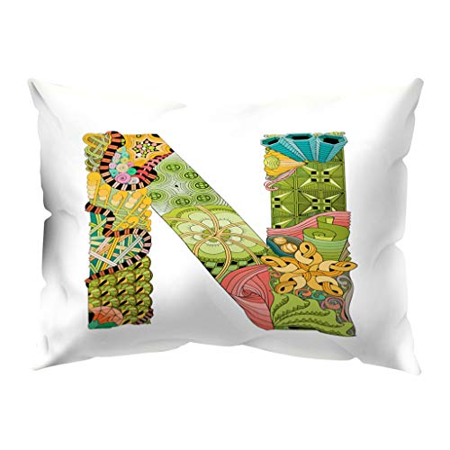 (Throw Pillow Covers, Fulijie A to Z Letter Print Throw Pillow Cases Soft for Sofa Bed Car Home Decor 12 x 20 Inch)
