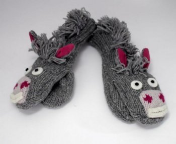 Donkey Mittens, Grey, ToddlerCan Use as Puppets!