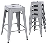 Best Choice Products 24in Set of 4 Indoor Outdoor Stackable Backless Counter Height Stools – Silver Review