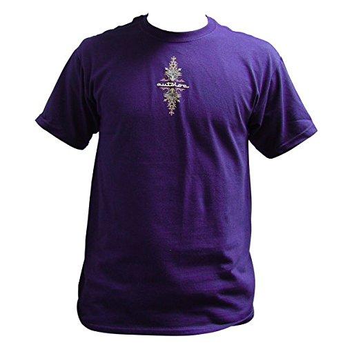 Autoloc Power Accessories Large Purple Short Sleeve Pinstripe T Shirt Style 1
