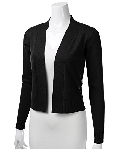 FLORIA Womens Classic Long Sleeve Open Front Cropped Cardigan Black L by FLORIA (Image #1)