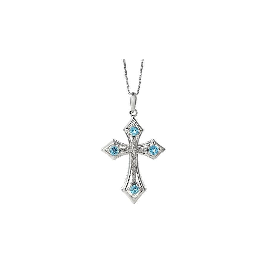 .10 Ct Blue Topaz .03 cttw Diamond Cross Birthstone Pendant in Sterling Silver