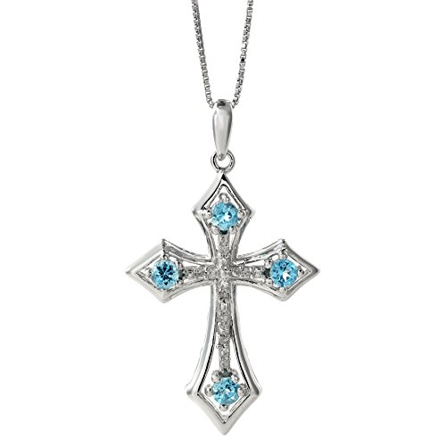.10 Ct Blue Topaz .03 cttw Diamond Cross Birthstone Pendant in Sterling Silver