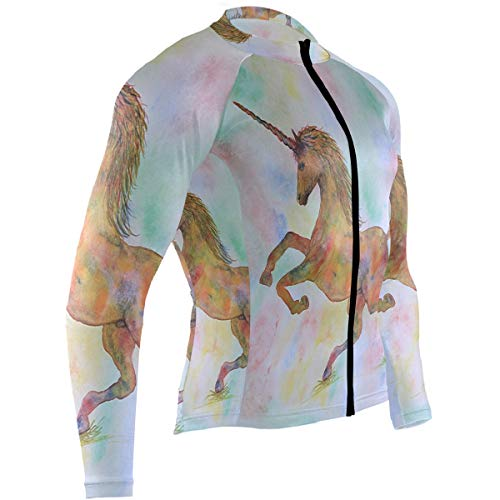 Rainbow Unicorn My Garden Mens Cycling Jersey Top Long Sleeve Road Riding Skinsuits Outfit