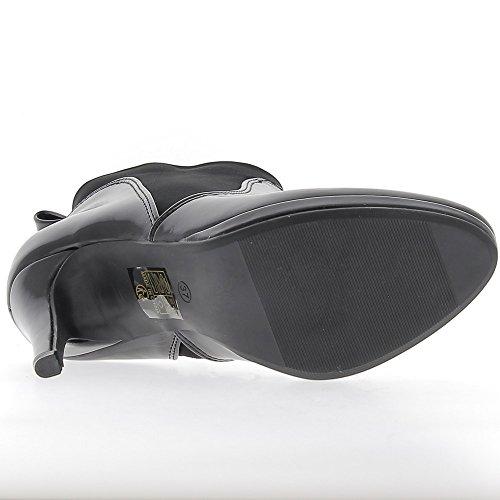 Stivali tacco basso nero le finalità 9,5 cm e piattaforma