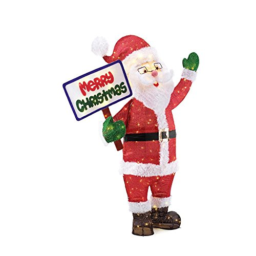 Home Accents Holiday 60IN 200L LED TINSEL SANTA WITH SIGN by Home Accents Holiday (Image #3)