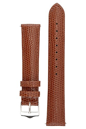 Signature Dragon in brown 22 mm extra-long watch band. Replacement watch strap. Genuine leather. Silver Buckle (Genuine Lizard Skin)