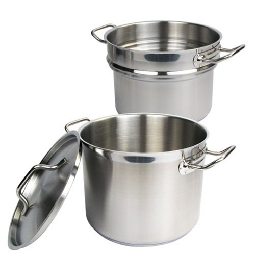 Winware Stainless 8 Quart Double Boiler  with Cover Stainless Boiler