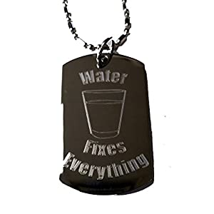 Hat Shark Water Fixes Everything – Luggage Metal Chain Necklace Military Dog Tag