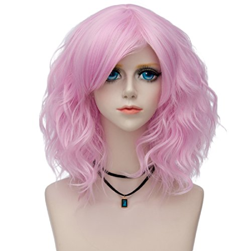 Probeauty Sweety Collection Lolita 40CM Short Curly Fashion Women Anime Cosplay Wig + Wig Cap (Pink F10A) (Pink Collection)