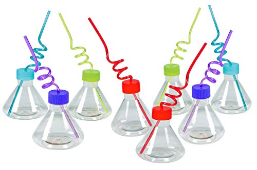 Science Kit For Kids- 8 Cups with 8 Silly Loop Straws - Reusable- Birthday Party Favors Supplies for Children, By 4E's Novelty -