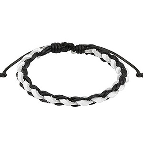 Black and White Braided Leather Bracelet with Drawstrings, Adjustable Size by Sliding Tie-Knot Closure and One Size Fits Most (Extends upto 10
