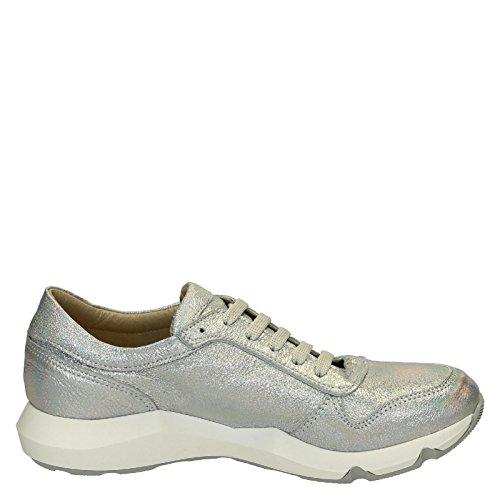 Leonardo Shoes Cuero Mujer ER01SILVER Zapatillas Plata 8AqS8r