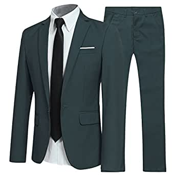 Cloudstyle Men's Two-Piece Slim Fit Business Suits Green