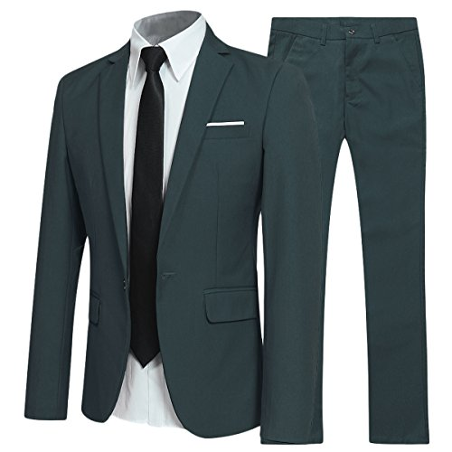 YFFUSHI Slim Fit 2 Piece Suit for Men One Button Casual/Formal/Wedding Tuxedo,Green,XXX-Large