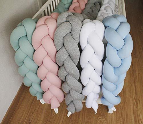 Coj/ín trenzado artesanal de algod/ón color blanco- Chichonera bebe para cuna elastano y 100/% fibra hueca siliconada Protector cuna trenza 120 cm