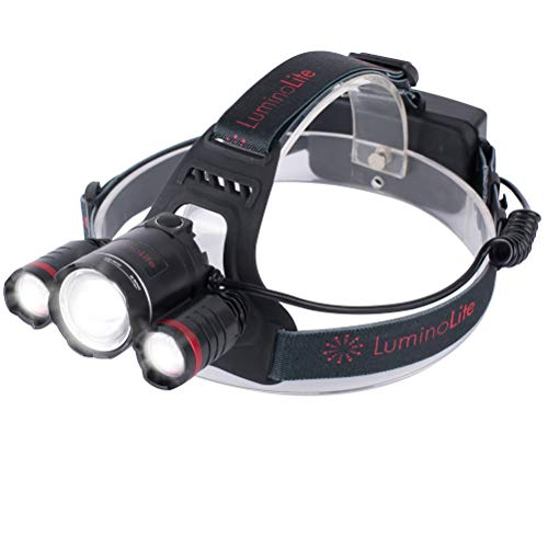 Bright Super Beam (LuminoLite Rechargeable Super Bright LED Headlamp, 1000 Lumens, Zoomable Beam, 90° Adjustable Pivot Headlight, Water Proof Head Light Flashlight. Batteries & Charger Included. TOO BRIGHT, NOT FOR KIDS)