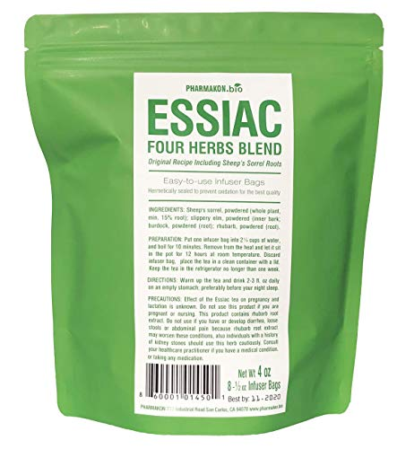 Essiac Tea 8 Infuser Bags. Original Recipe Including Sheep Sorrel Roots. Easy To Use Infuser Bags, Approx 8 Weeks Supply.