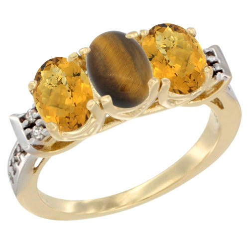 10K Yellow Gold Natural Tiger Eye & Whisky Quartz Sides Ring 3-Stone Oval 7x5 mm Diamond Accent, size 7 by Silver City Jewelry
