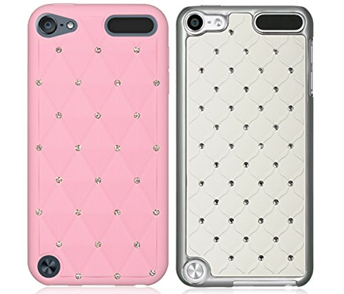Mozlly Value Pack - Dream Wireless iPod Touch 5,6 Pink High End Studded Diamond Skin Case and White Diamond Studded Chrome iPod Touch 5 Case (2 Items) (For 5 Case Diamond Chrome Ipod)