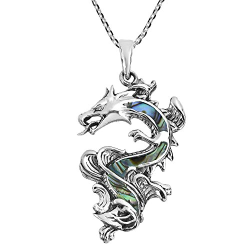 Inlaid Sterling Silver Pendant - AeraVida Legendary Chinese Dragon Abalone Shell Inlaid .925 Sterling Silver Pendant Necklace