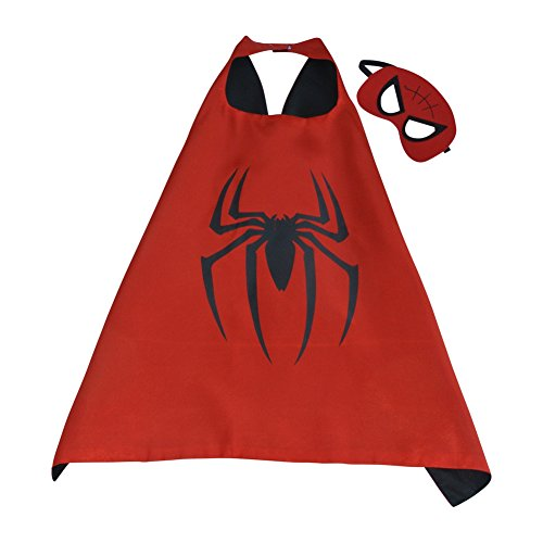 Toddler Boy Girl Super Heroes Costumes with Satin Cape and Felt Mask (Spiderman) 2018