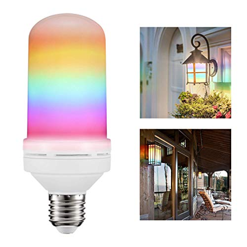 AveyLum LED Flame Effect Light Bulb 3 Modes Gravity Sensor Flame Flicker E26 RGB Vintage Bulbs for Halloween Party Christams Pub Club Cafe -