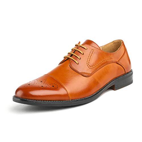 (Bruno Marc Men's Halsted-01 Brown Leather Lined Dress Oxfords Shoes - 8.5 M US)