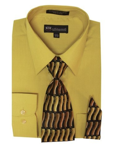 Milano Moda Men's Long Sleeve Dress Shirt With Matching Tie And Handkie SG21A-Gold-16-16 1/2-34-35