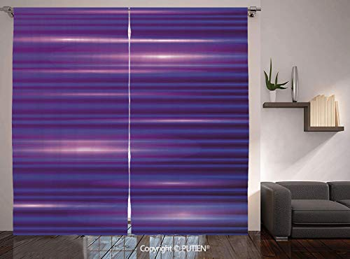 Thermal Insulated Blackout Window Curtain [ Indigo,Stripe Like Horizontal Lines Modern Minimalist 70s 80s Inspired Design,Magenta Purple and White ] for Living Room Bedroom Dorm Room Classroom Kitchen