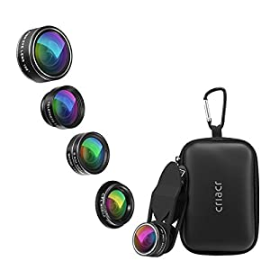 Criacr 5 in 1 Phone Camera Lens Kit, 2X Zoom Telephoto Lens + 198° Fisheye Lens + 0.63X Angle Lens & 15X Macro Lens (Attached Together) + Circular Polarized Lens for iPhone, Samsung, Smartphones