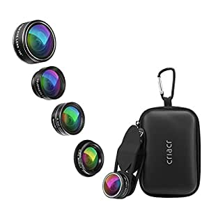 Criacr 5 in 1 Phone Camera Lens Kit 2X Zoom Telephoto Lens + 198° Fisheye Lens + 0.63X Angle Lens & 15X Macro Lens (Attached Together) + Circular Polarized Lens for iPhone Samsung Smartphones