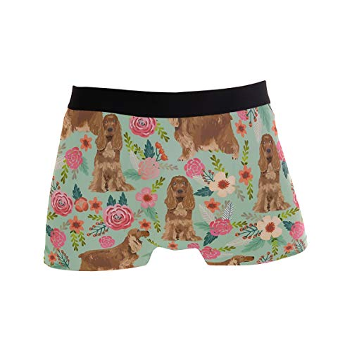 Mens Boxer Briefs,Cocker Spaniel Florals Dog, Soft Breathable Stretch Low Rise Trunks Briefs Underwear Men Boys Cocker Spaniel Dog Underwear